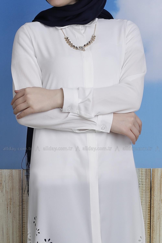 Eteği Lazer Kesim Kolyeli Gömlek Tunik