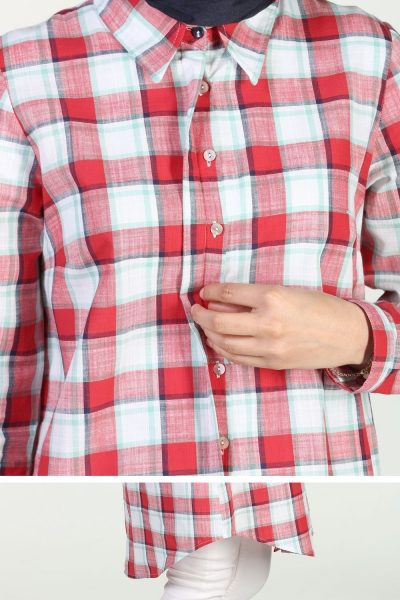 PLAID SHIRT WITH HIDDEN BUTTONSOFT GREEN100% COTTON