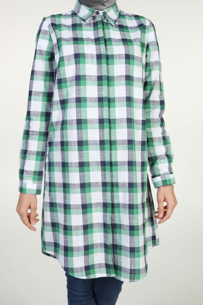 PLAID SHIRT WITH HIDDEN BUTTON