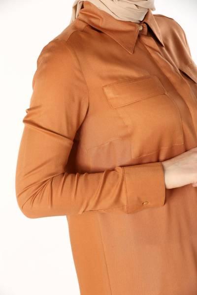 Viskon Yandan Yırtmaçlı Gömlek Tunik