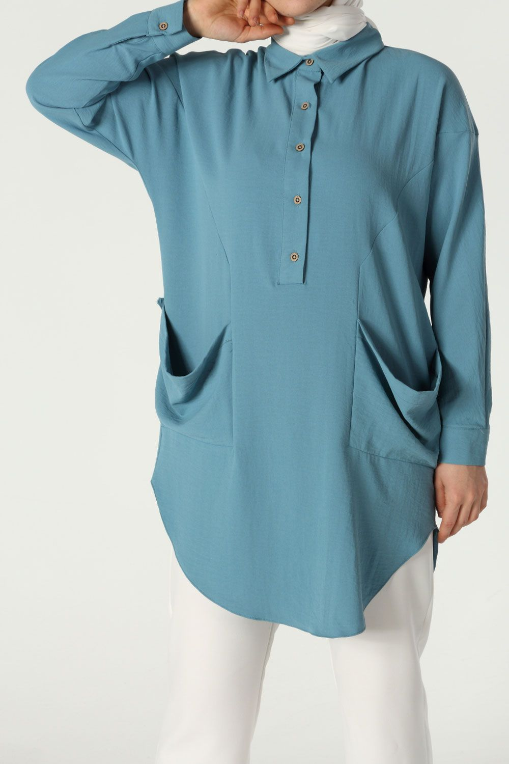 Button Front Side Pocket Detailed Tunic