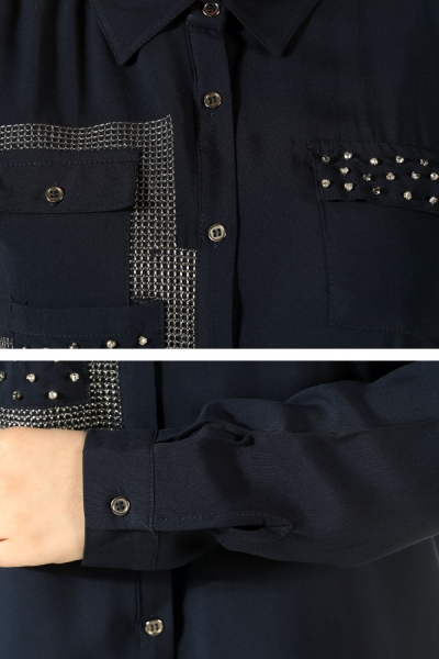 Three Pocket Embroidered Shirt Tunic
