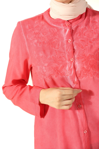 Üst Robası Nakışlı Gömlek Tunik