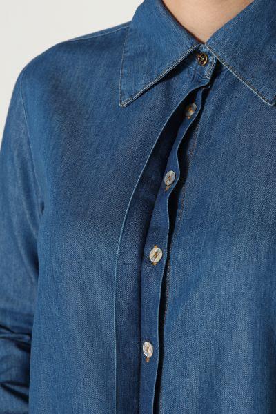 Uzun Patlı Denim Gömlek Tunik