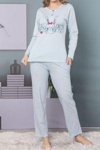 Uzun Kollu Üçlü Pijama Takımı