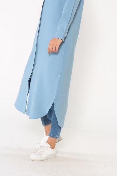 Uzun Tensel Gizli Patlı Gömlek Tunik
