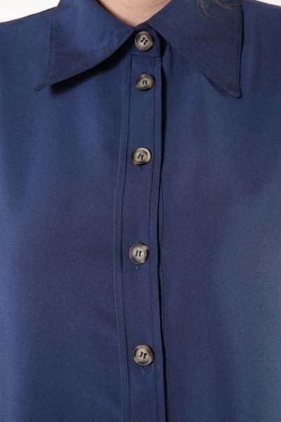 Viskon Düğmeli Uzun Gömlek Tunik