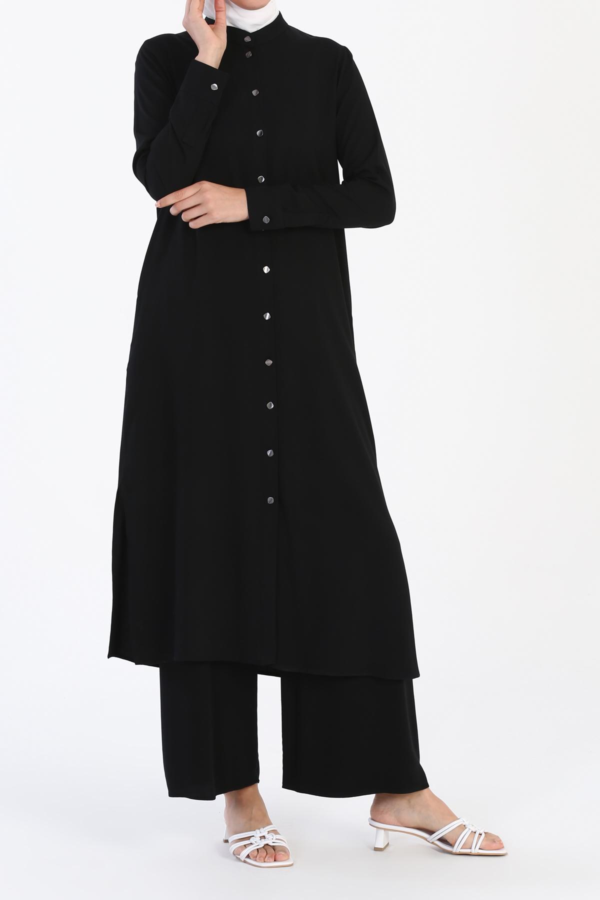 Uzun Tunikli Pantolonlu Viskon Takım
