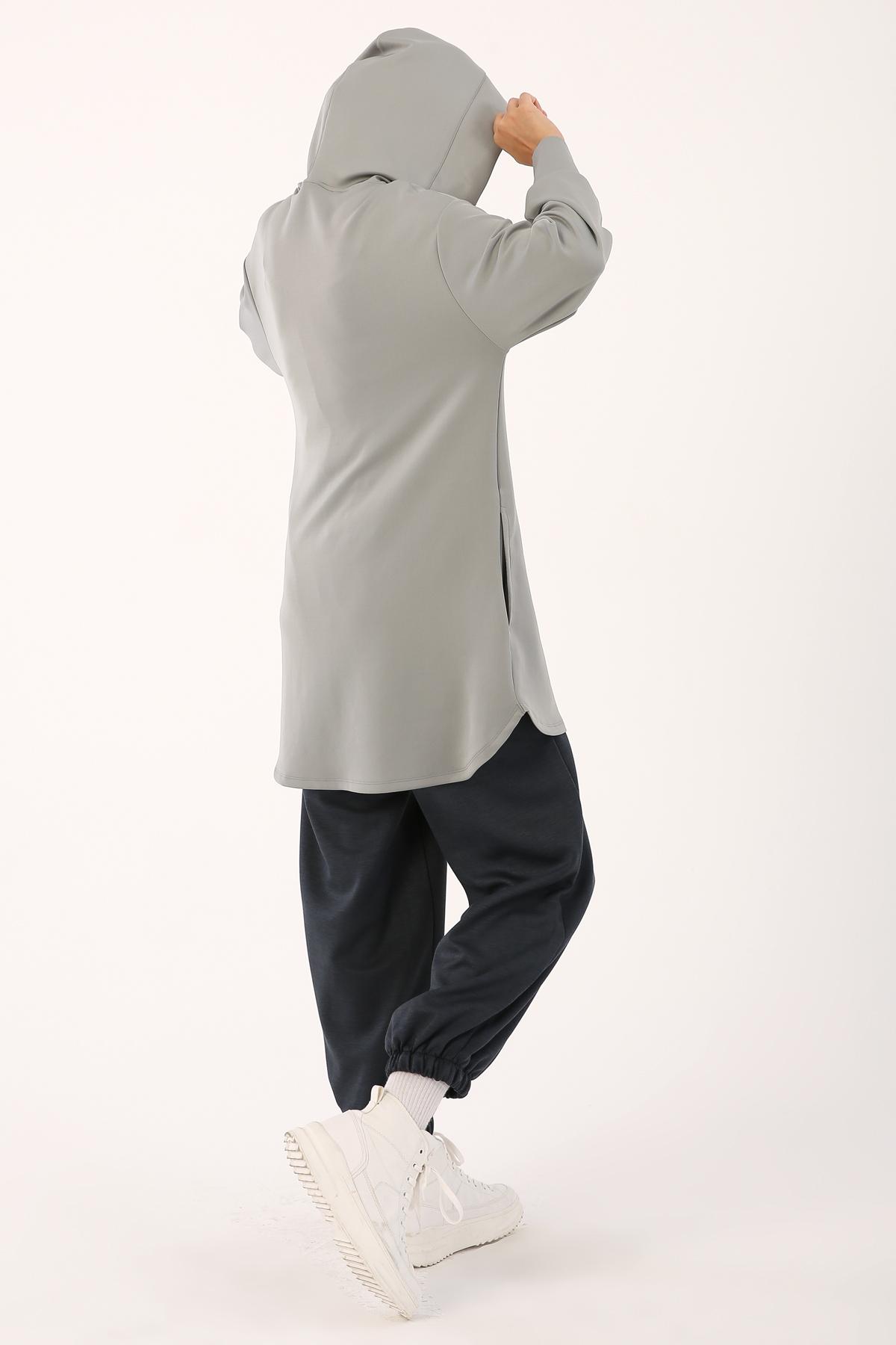 Hooded V Neck Sweatshirt Tunic