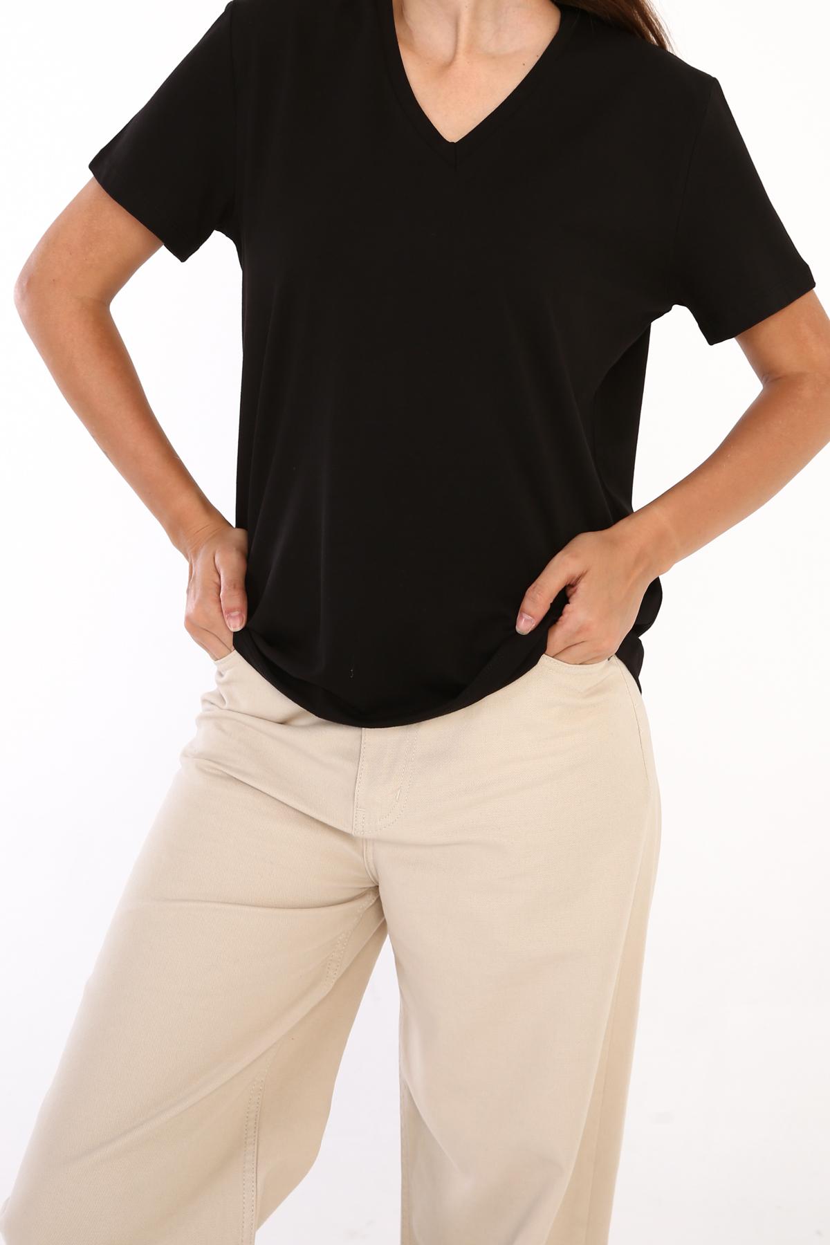 V Neck Cotton Basic T-shirt