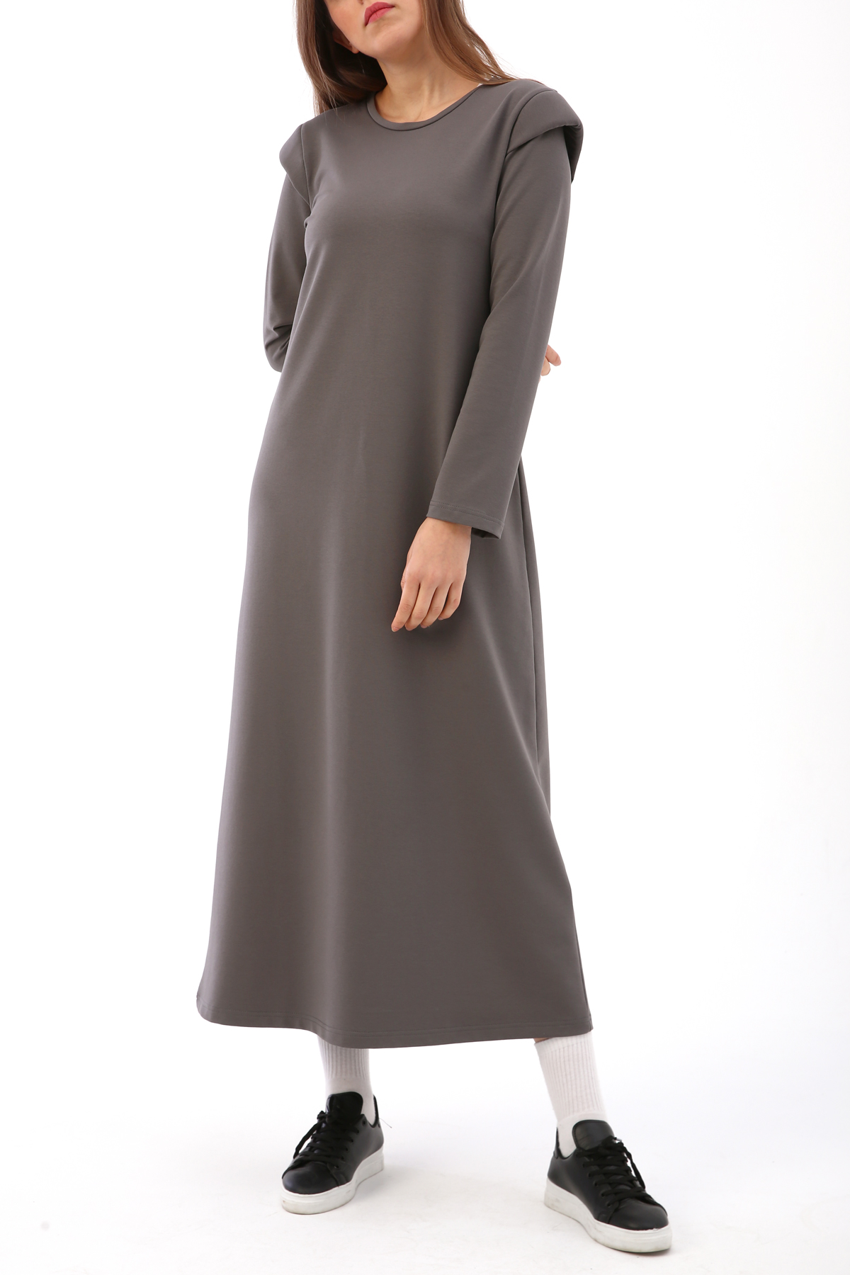 Padded Shoulder Combed Cotton Maxi Dress
