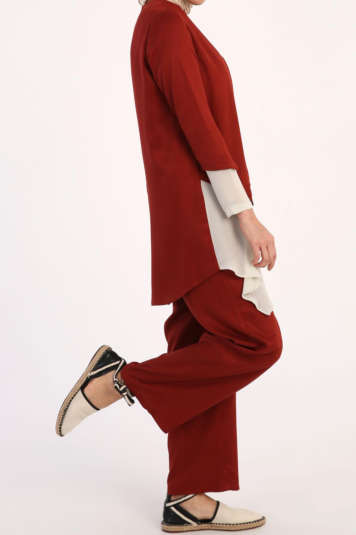 Viscose Asymmetric Blouse and Pants Set