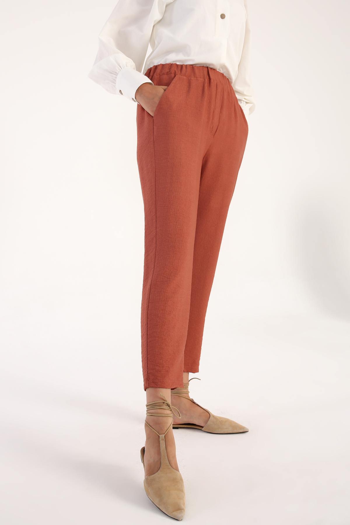 Elastic Waist Viscose Pegged Pants