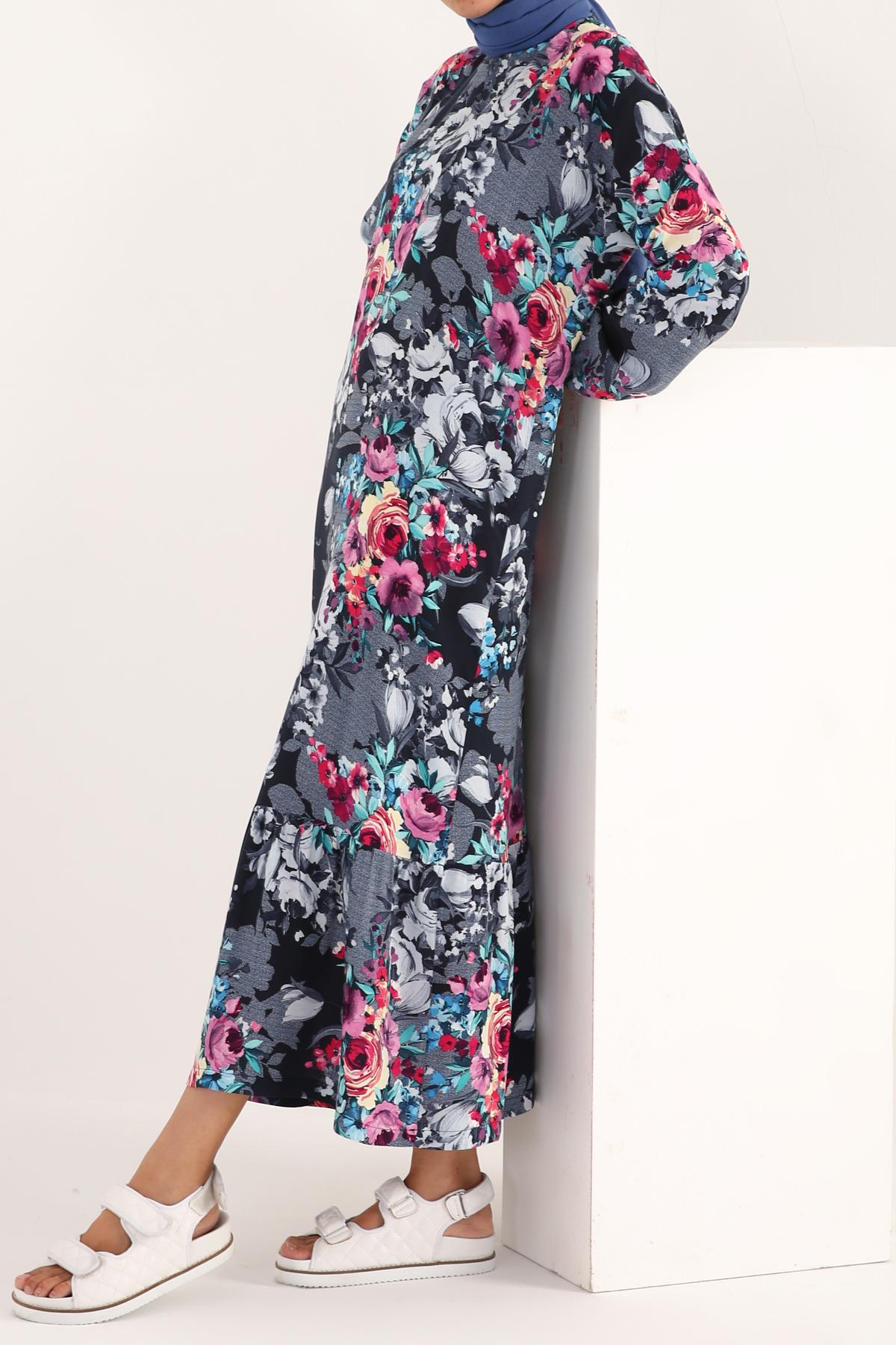 Bishop Sleeve Viscose Floral Dress