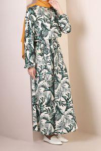 Viskon Kumaş Desenli Kuşaklı Elbise