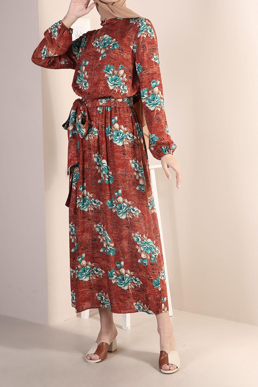 Patterned Belted Dress