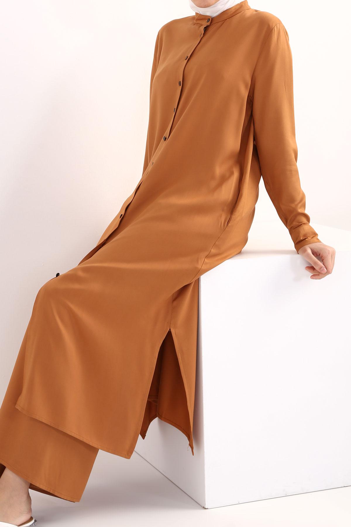 Viscose Mandarin Collar Pants Suits With Pockets