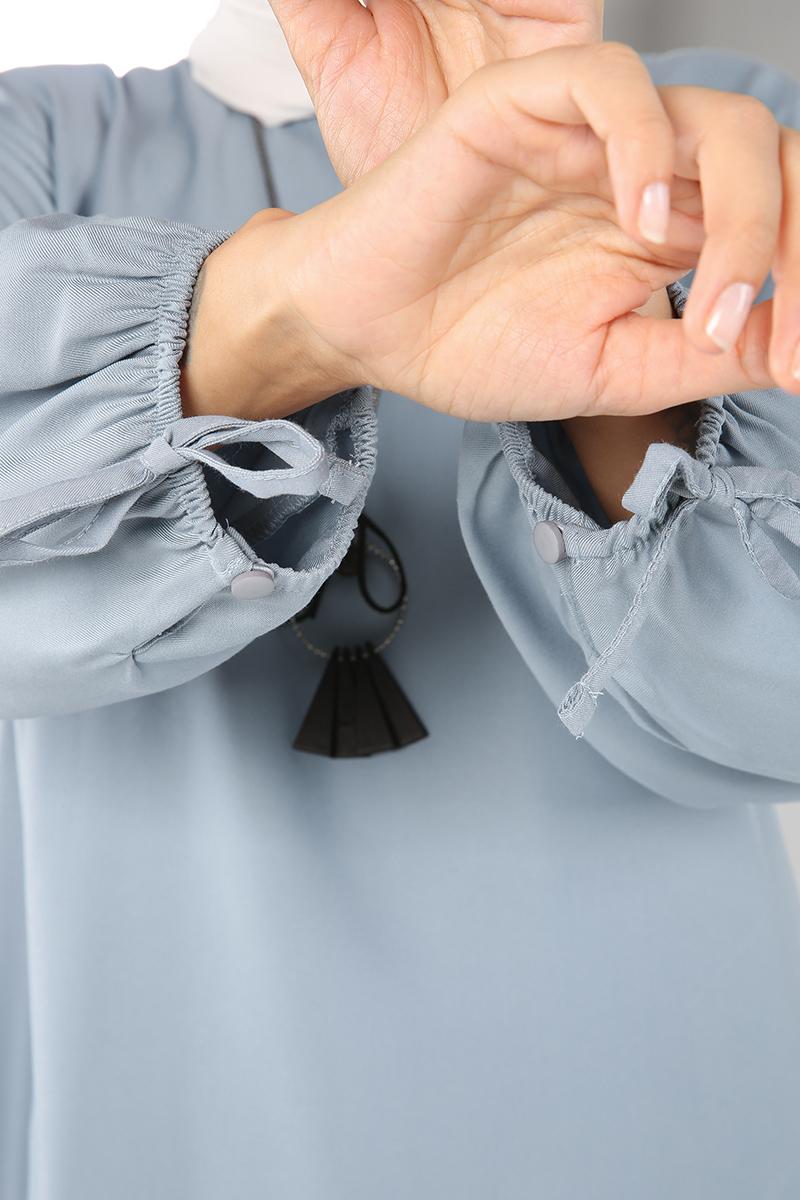 Viskon Kolu Güpürlü Tunik