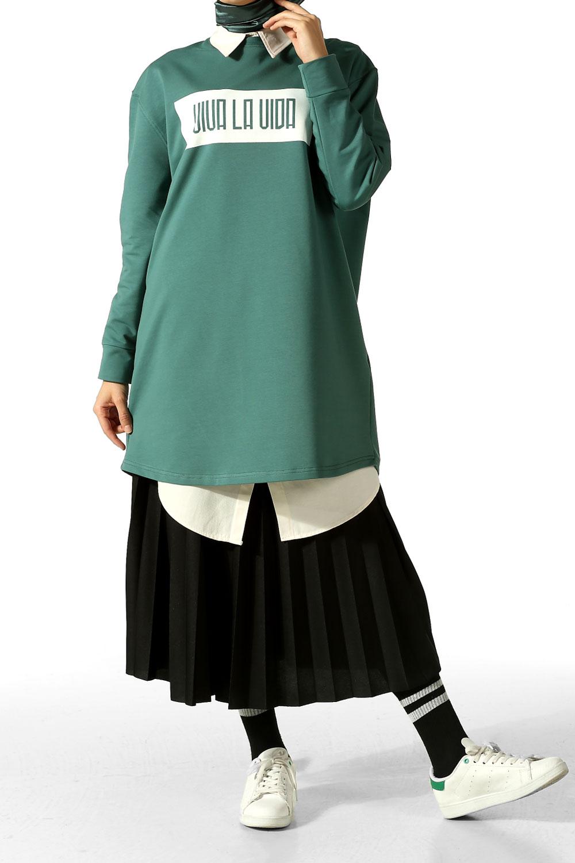 Viva La Vida Baskılı Tunik Sweatshirt