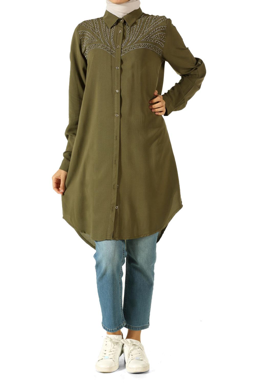 Western Simli Nakışlı Gömlek Tunik