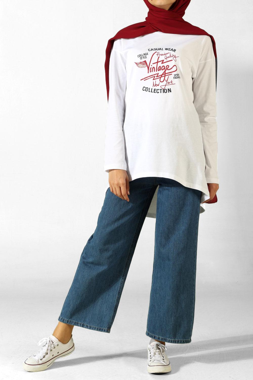 Vintage Baskılı Penye Tunik