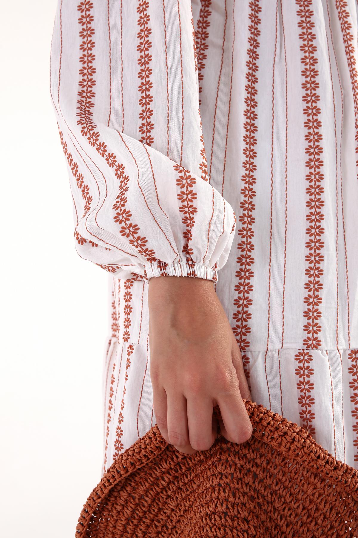 Tie Neck Tent Model Patterned Dress