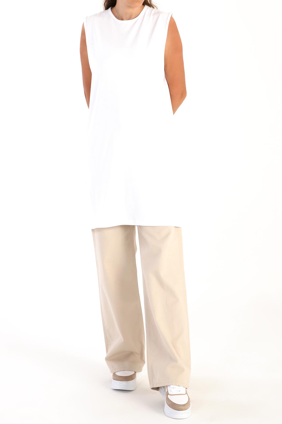 Crew Neck Sleeveless Basic Tunic