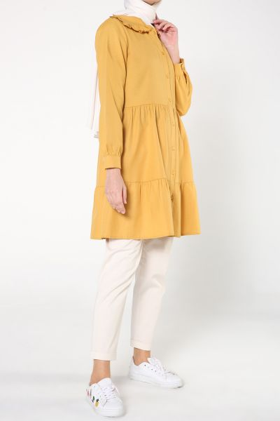 Yaka Fırfırlı Düğmeli Pileli Gömlek Tunik