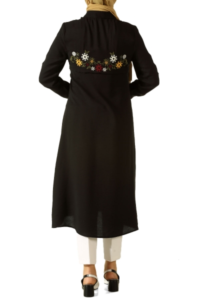 Embroidered Tunic with Lace Up Neck