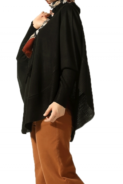 KNITWEAR PONCHO WITH LACE-UP NECK
