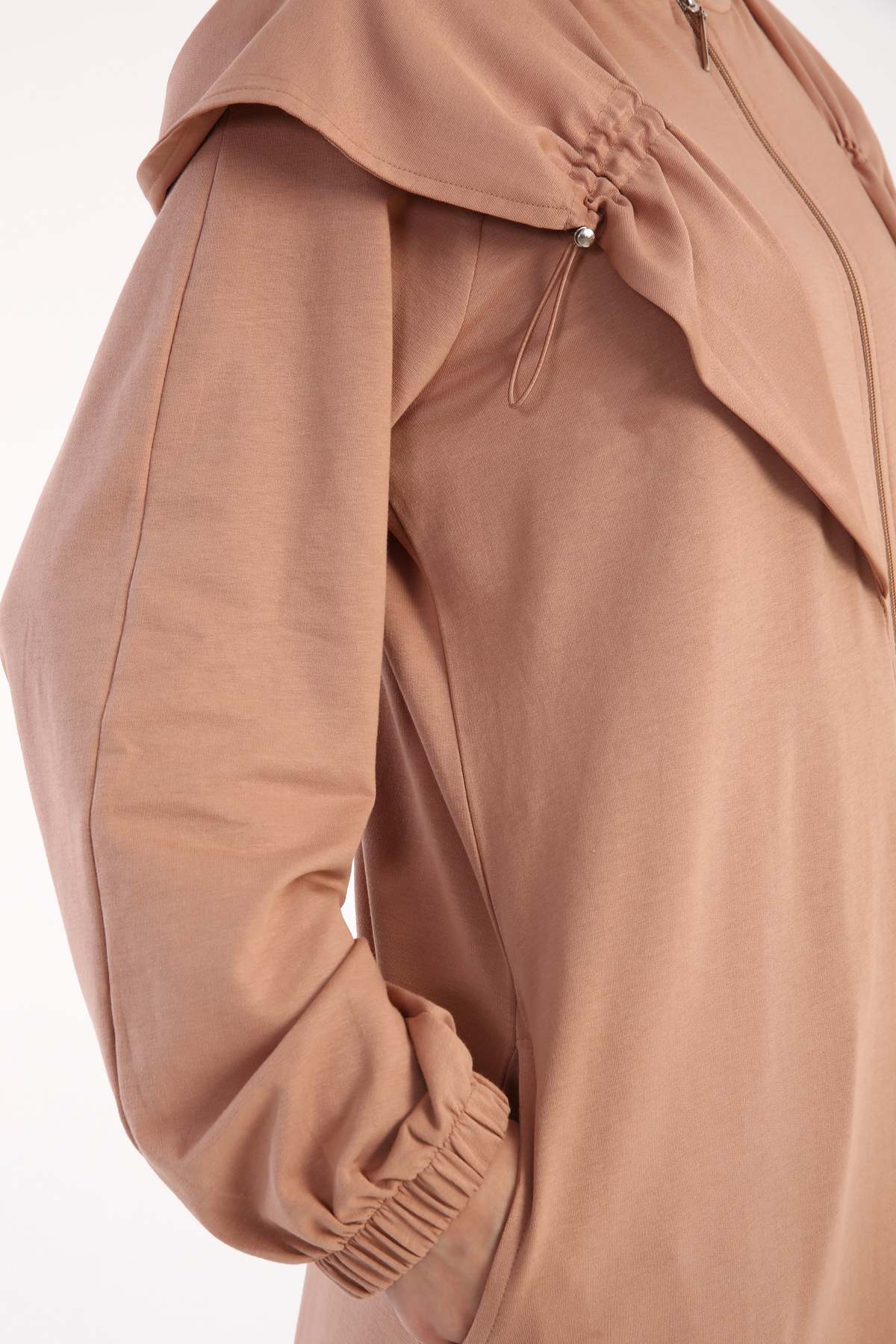 Raglan Sleeve Zippered Combed Cotton Abaya