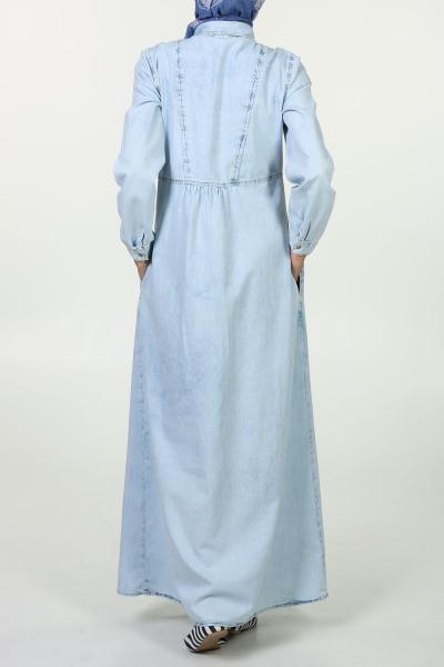 Prominent Striped Denim Dress