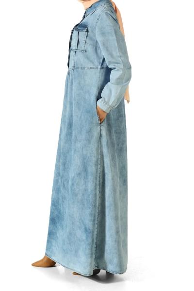 Yakası Çıtçıtlı Kot Elbise