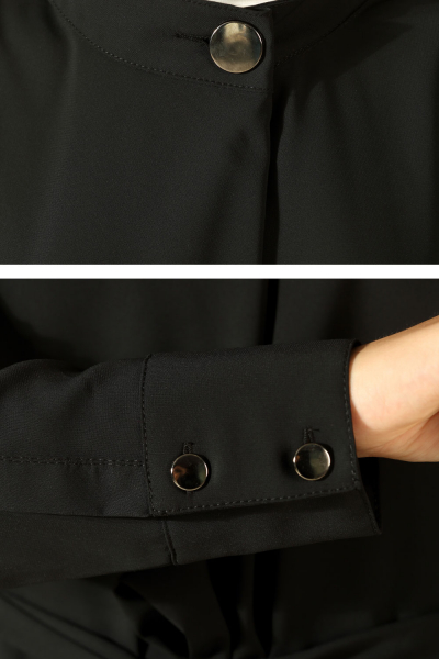 Yakası Düğmeli Kuşaklı Tunik