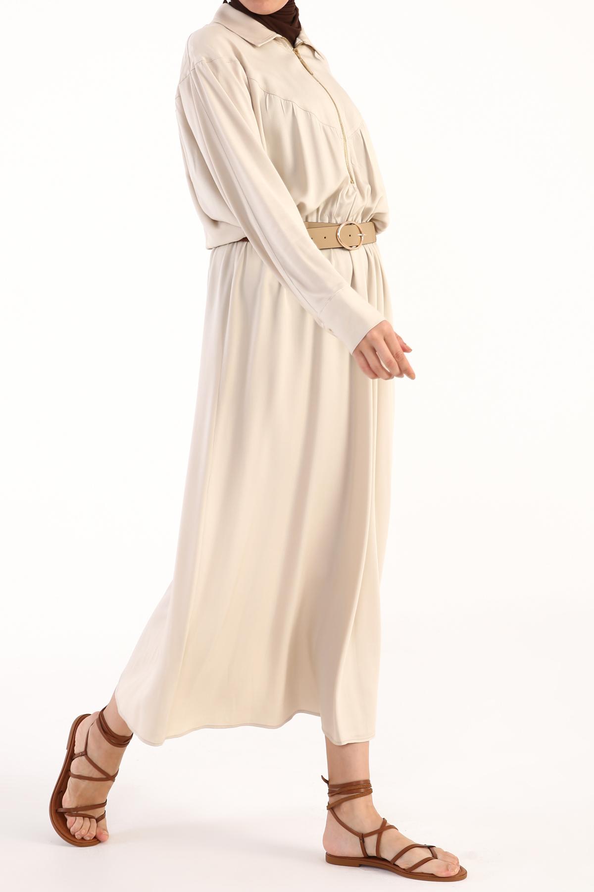 Zipper Collar Self Belted Long Viscose Dress