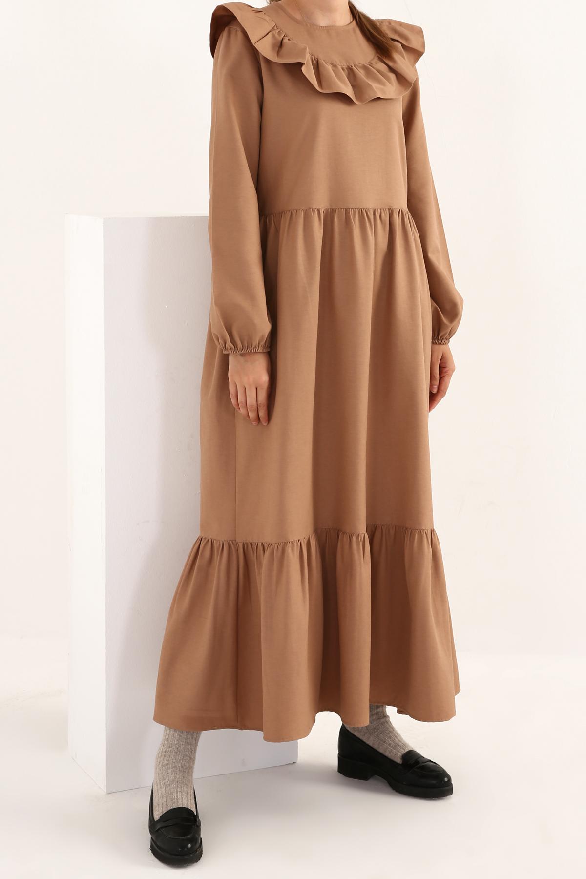 Ruffle Neck Maxi Cotton Dress