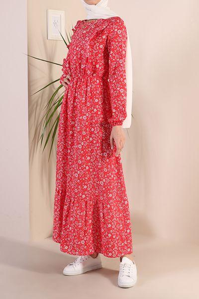 Yakası Fırfırlı Viskon Elbise