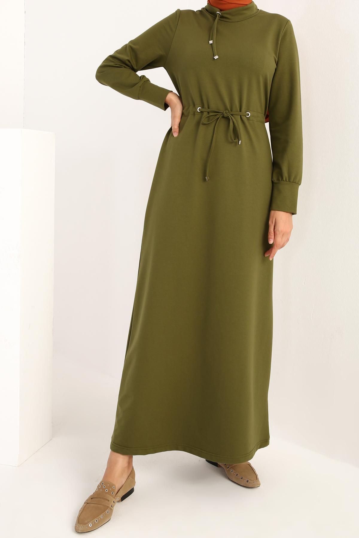 Eyelet Neck Lace Waist Maxi Dress