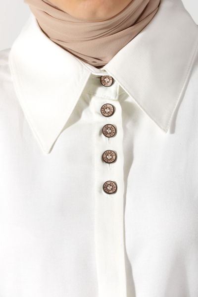 Yakası Manşeti Düğmeli Gömlek Tunik