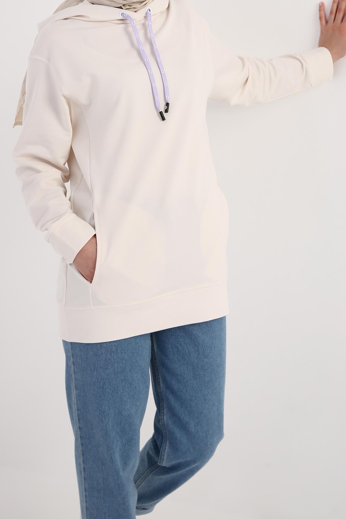 Hooded Sweatshirt Tunic With Pocket