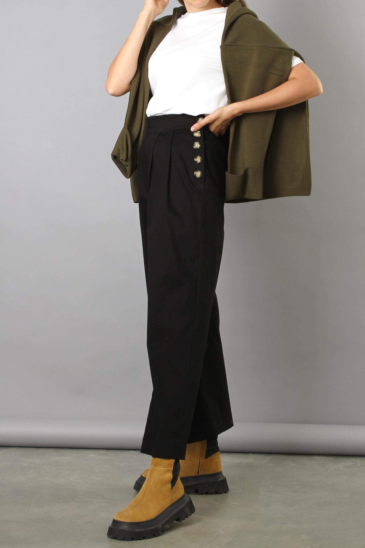 Button Side Cotton Wide Leg Pants
