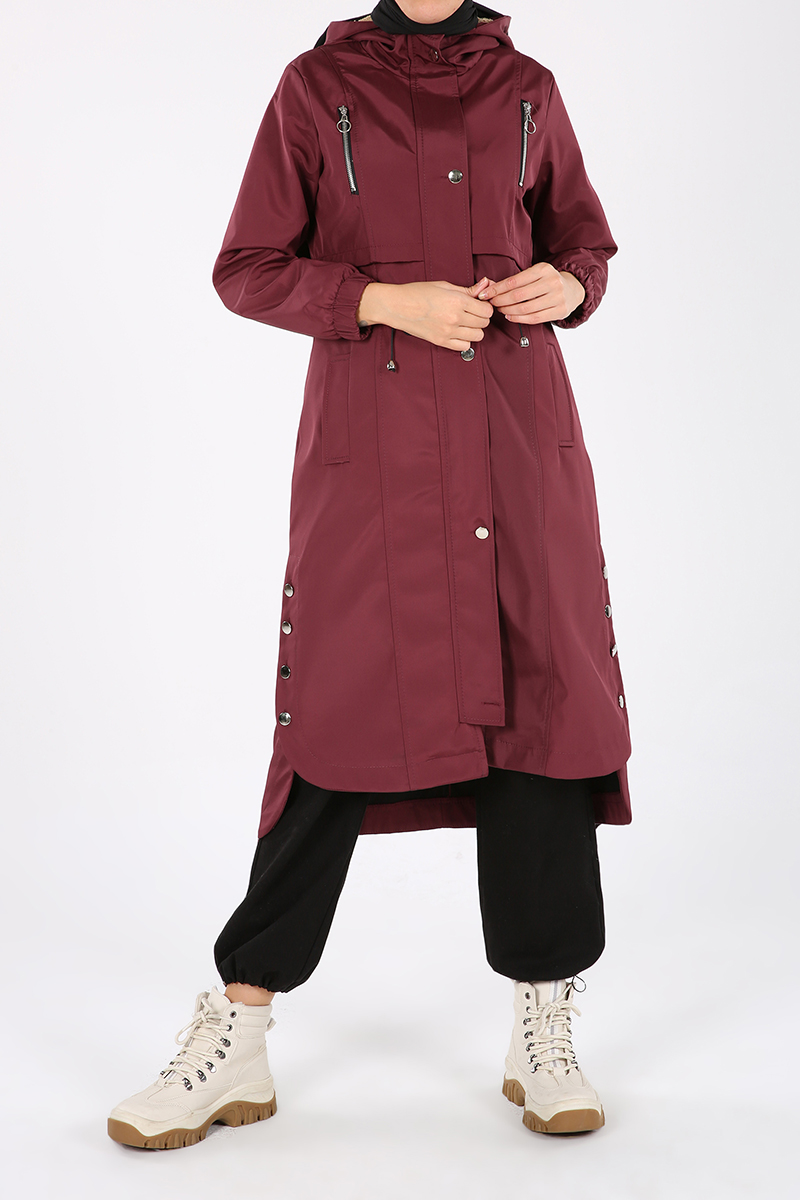 Buttoned Sides, Elastic On Sleeves, Snap, Pocket, Hooded Coat