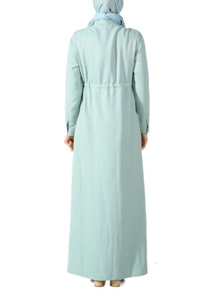 Yanları Şeritli Bel Büzgülü Gömlek Elbise
