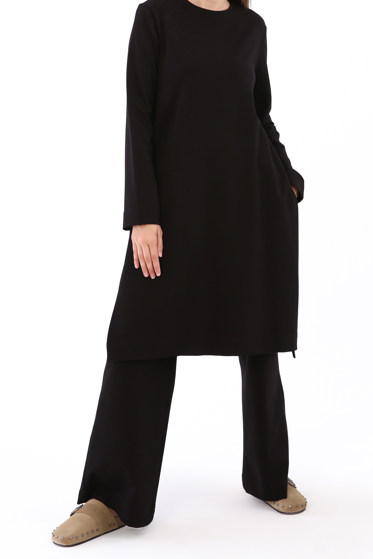 Slit Side Blouse and Pants Outfit Set
