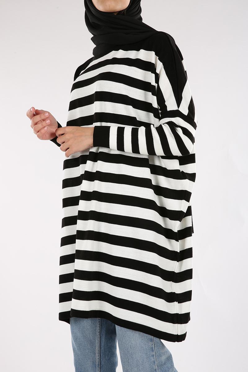 Batwing Sleeve Striped Tunic