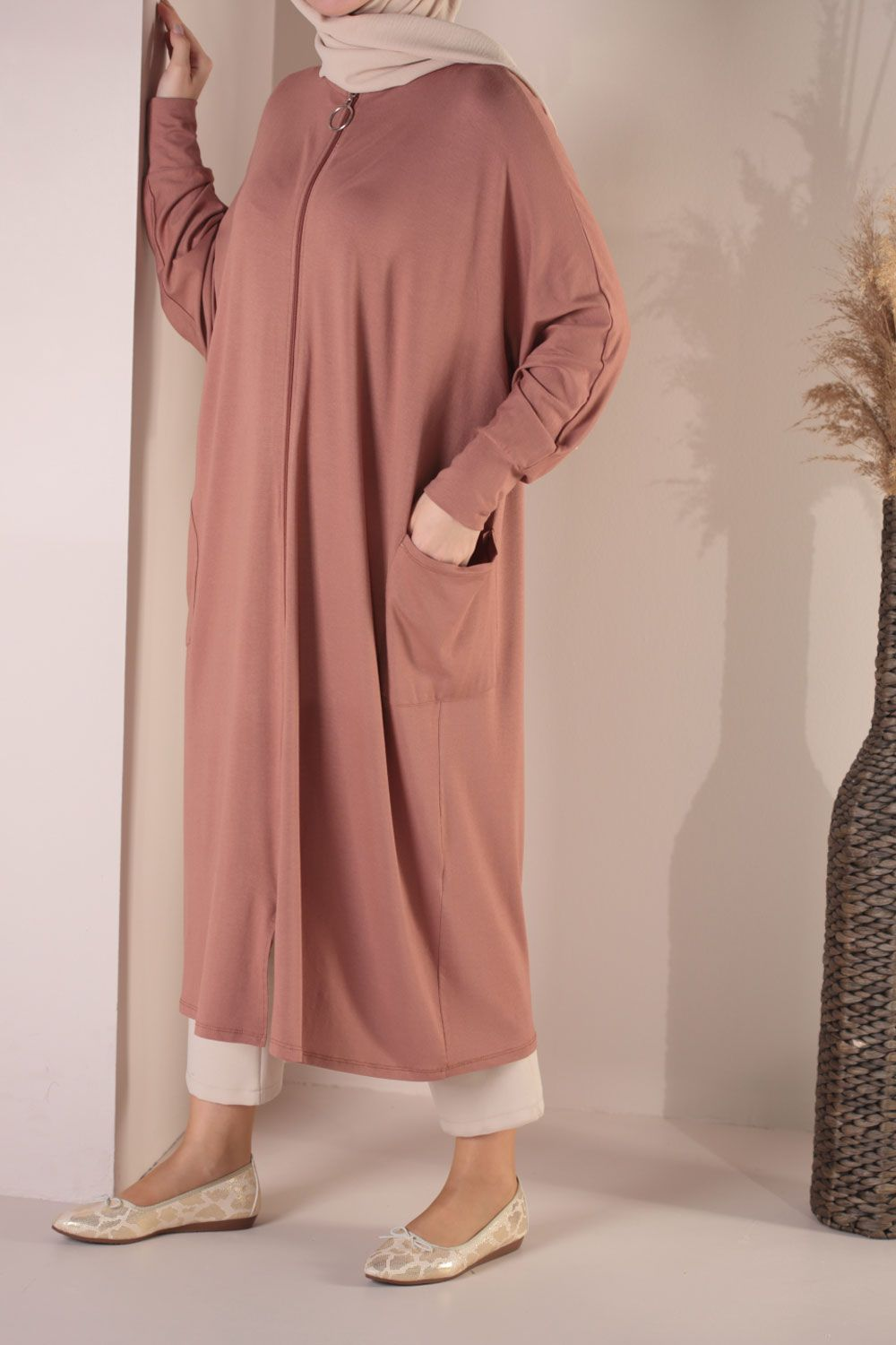 Light Brown BATWING SLEEVE CAPE - 309-2271