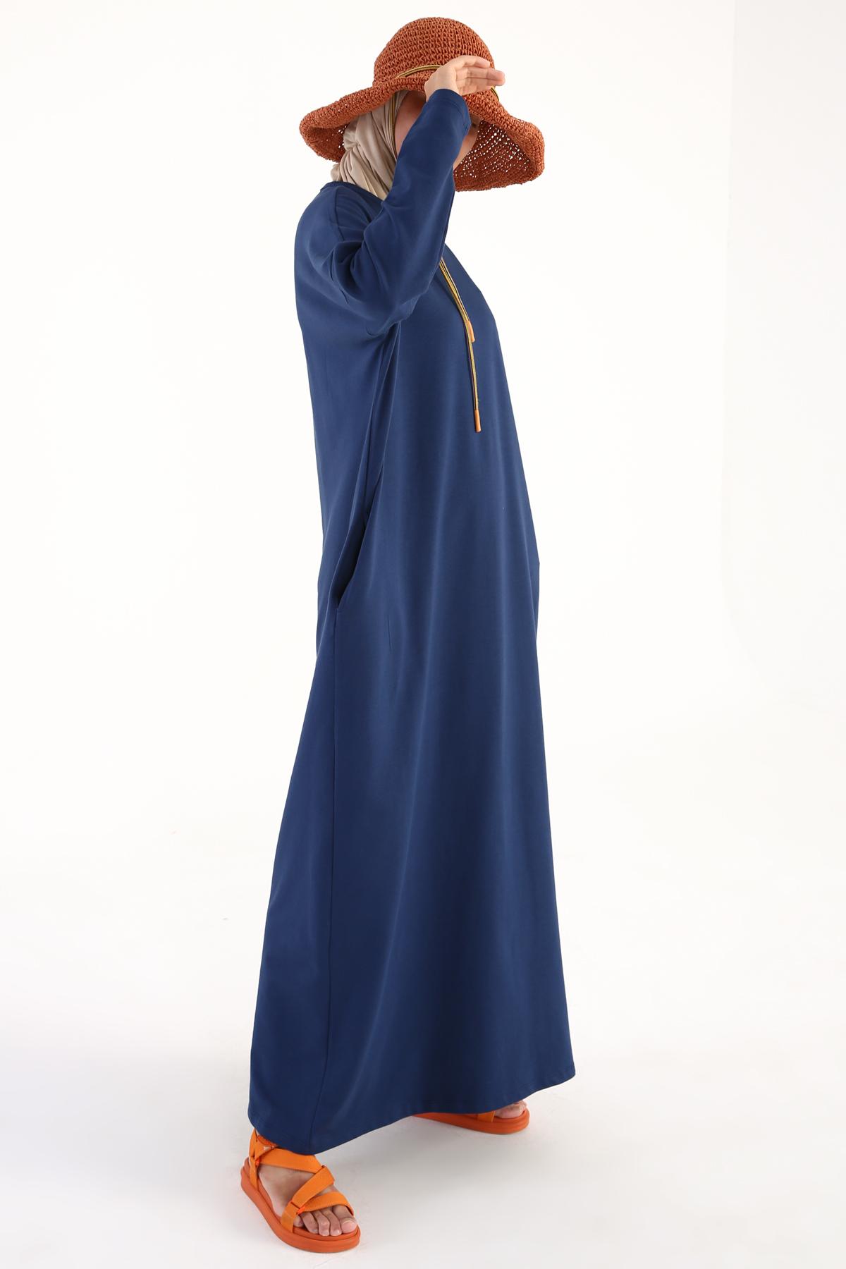 Yarasa Kol Pamuklu Basic Salaş Elbise