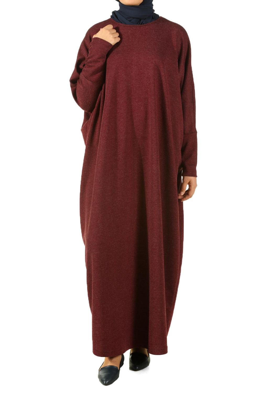 3a719215f99fc Bordo Yarasa Kol Salaş Elbise - 175-375   Allday