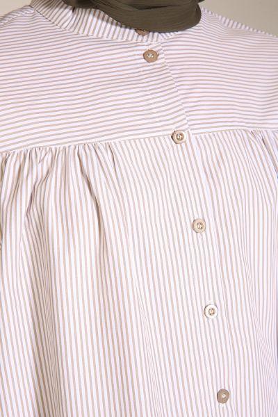 Yarece Çizgili Düğmeli Gömlek Tunik