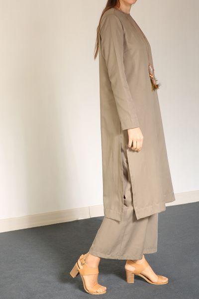 Yarece Yırtmaçlı Uzun Tunikli Takım